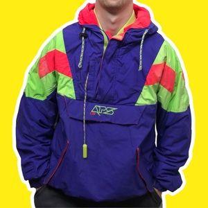 CB APS Vintage 1/4 Colorblock Pullover Jacket Neon